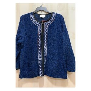 Cathy Daniels Zip Sequined Sweater w/ pockets. 2X
